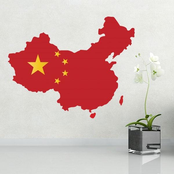 Flag map of China wall vinyl font b sticker b font font b custom b font