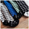 free shipping Cheap 2015 new socks oblique grid lines cute cat face cotton socks 18,002,091 Socks