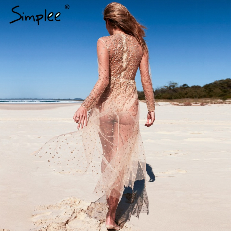 Simplee Sexy Transparent Mesh Party Dress DR938