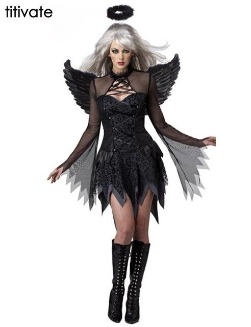 d09c7fad2fe1 TITIVATE Black Dark Devil Fallen Angel Costume Women Sexy Halloween Party  Adult Gothic Witch Costume Fancy Dress For Women