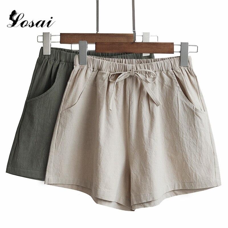 Women Linen Wide Leg Shorts Hot Summer Casual Solid Shorts Beach High Waist Short Pants Fashion Lady  Booty Shorts Plus Size