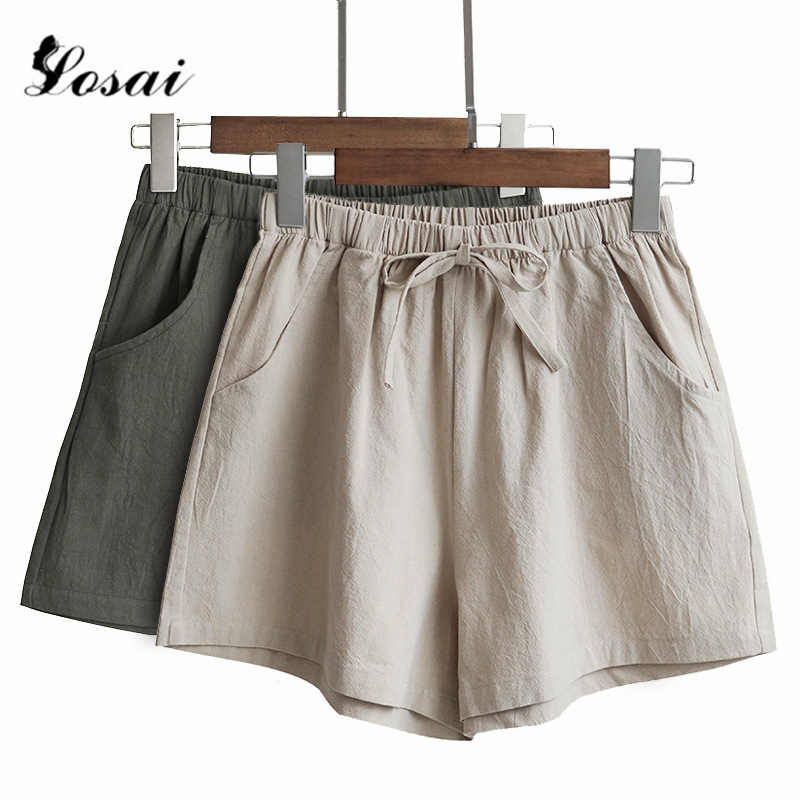 Women Linen Wide Leg Shorts Hot Summer Casual Solid Shorts Beach High Waist Short Pants Fashion Lady  Booty Shorts Plus Size