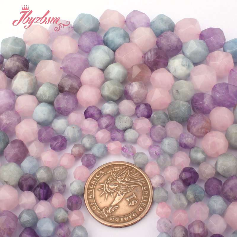 Faceted Lavender Aquamarines,Amethysts,Quartz Natural Stone Beads For Necklace DIY Jewelry Making 15 5-6,8,10mm Free Shipping