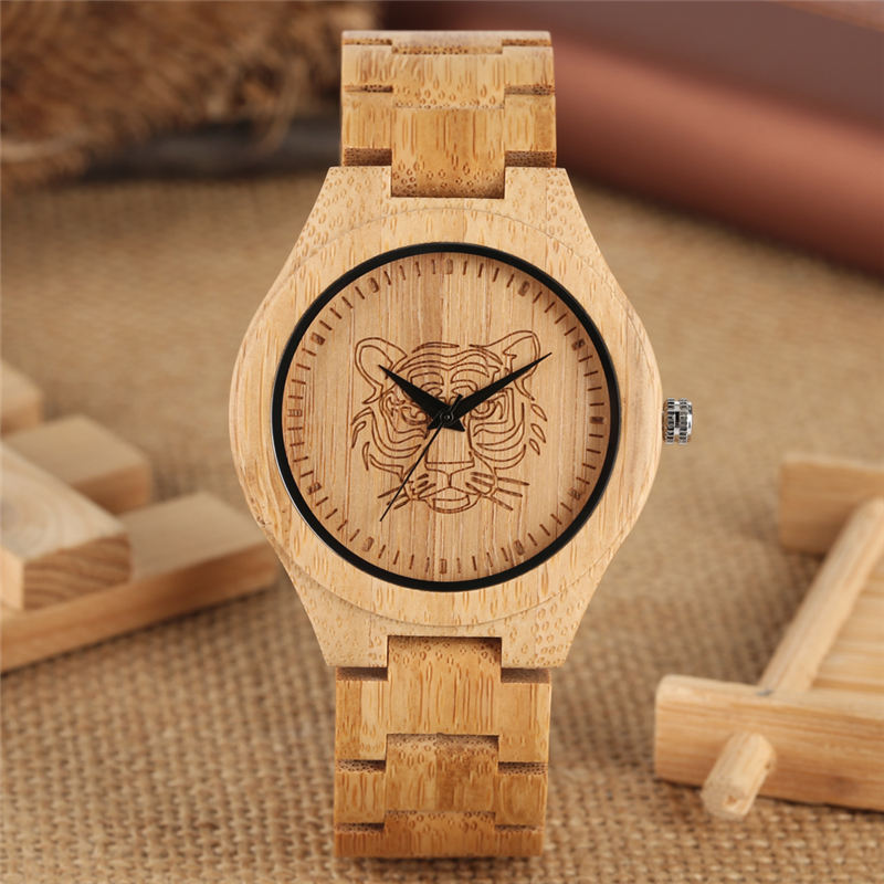 Lightweight Bamboo Watch Quartz Analog Tiger Head Figure Carving Full Wood Couple Watches Unisex Relojes Para Parejas Ol