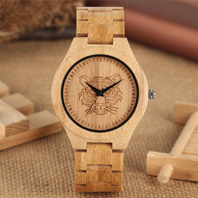 Natural Bamboo Watch Quartz Analog Tiger Head Figure Carving Full Wood Couple Watches Men Women Unisex Relojes Para Parejas Olev