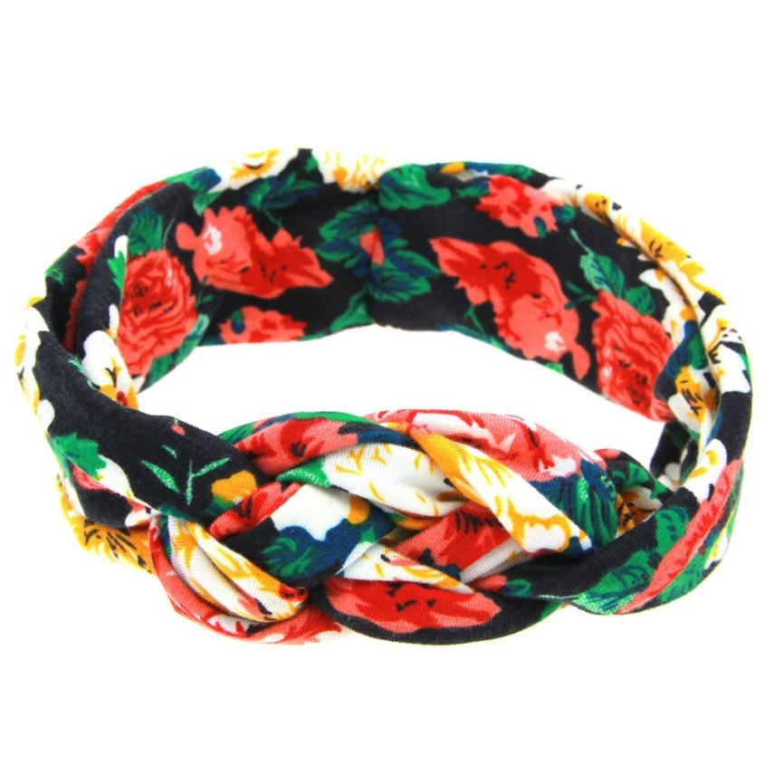 Vintage Kids Printing Intersect Elastic Cloth Children Soft Girl Kids Cross Hairband Turban Knitte Headwear Hair Accessories