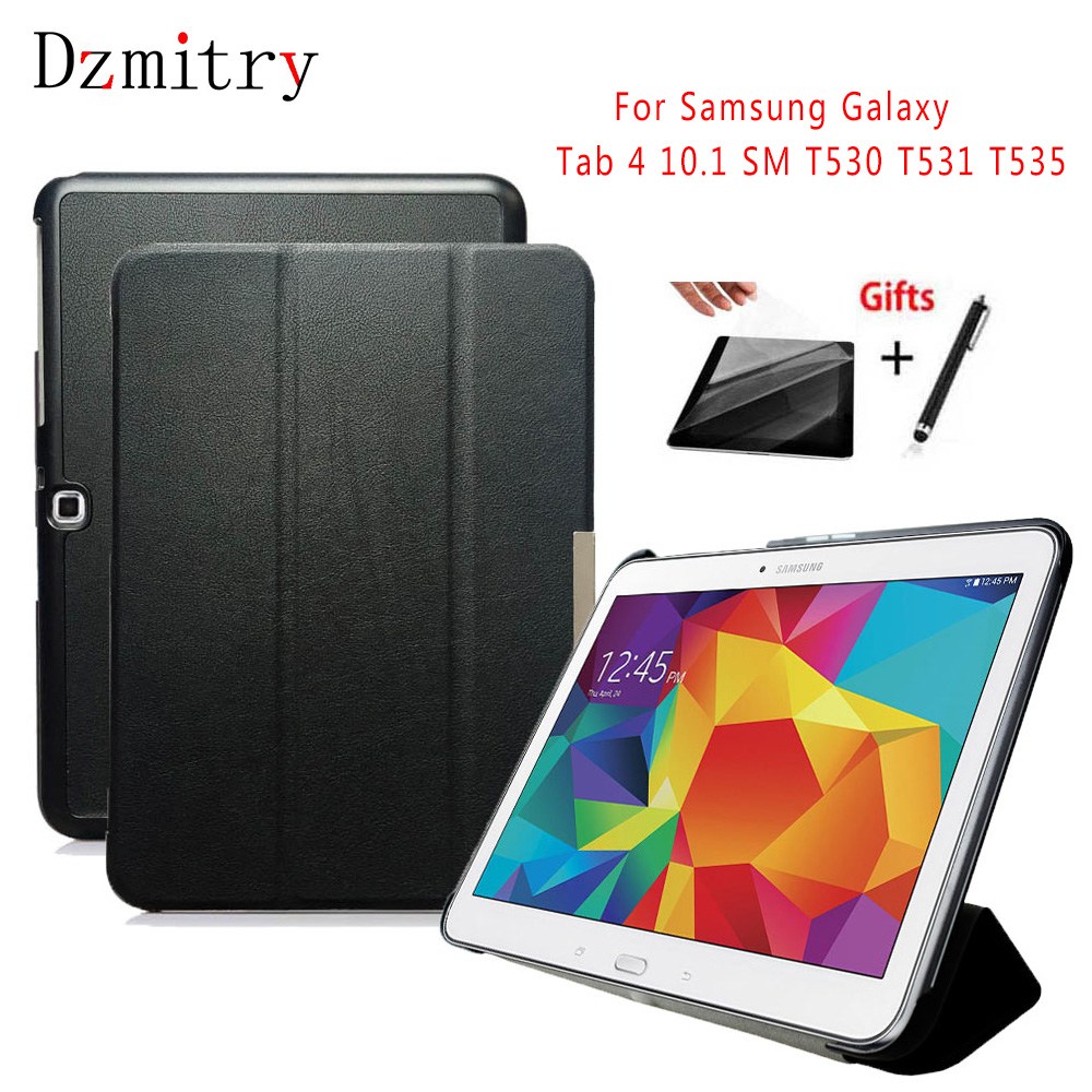 PU Leather Stand Cover For Samsung Galaxy Tab 4 10.1 SM T530 T531 T535 Tablet Auto Wake/Sleep Case+protective Film+Stylus Pen