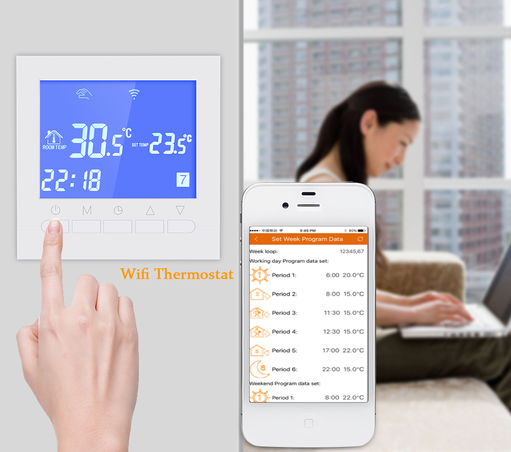 Wifi Thermostat For Electric Heating Controlled By Ios And