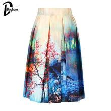 DayLook Summer Skater Skirt Vintage Charm Lady Multi Scene Print Pleated Midi Office Skirt Tutu Elegant