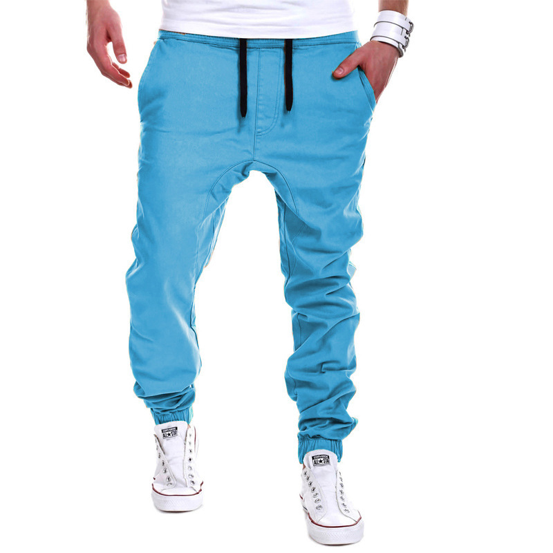 2020 Brand mens Casual Tethered elastic waist trousers Solid color Beam foot pants hip hop Pencil pants male Sweatpants 6 colors 16