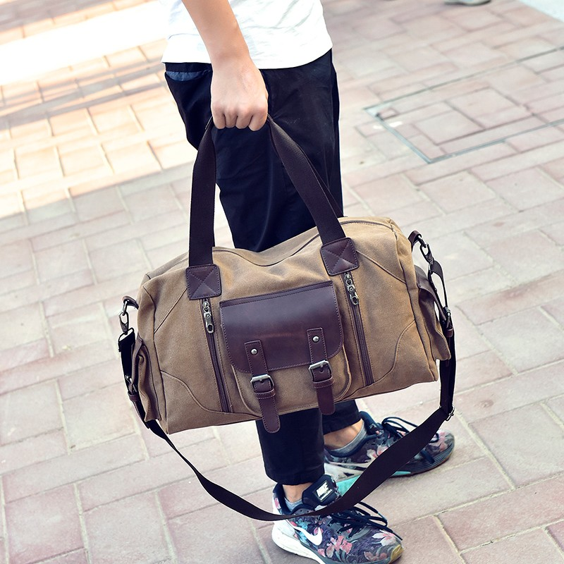 Famous Brand Men Vintage Canvas Men Travel Bags Women Weekend Carry On Luggage & Bags Leisure Duffle Bag Large Capacity Handbags (20)