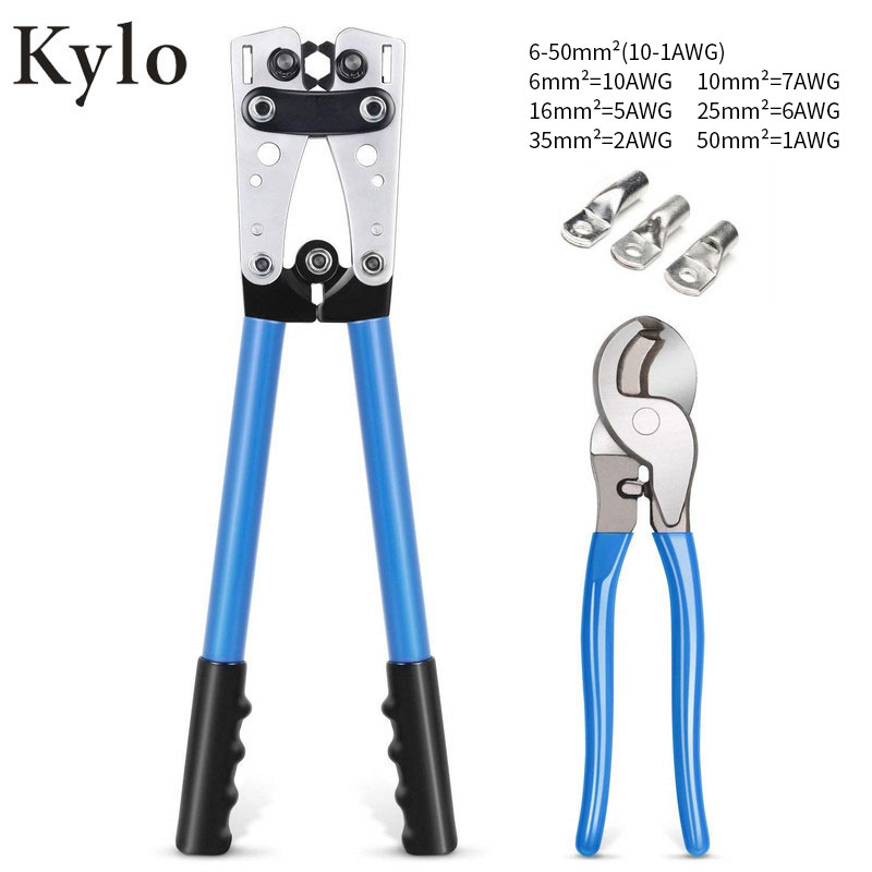 HX-50B Cable Crimpercable Crimping Tool Wire Crimper Hand Tool Set Ratchet Terminal Crimp Pliers For 6-50mm² 1-10AWG