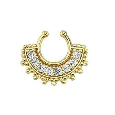 40pcs piercing fake nose ring hoop crystal nose gold ring clip silver indian nose fake septum ring for Christmas gift N0004