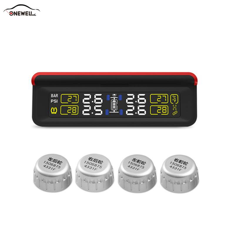 ONEWELL Auto Wireless PSI / BAR Solar Tire Pressure Monitoring System TPMS Solar LCD 4 External Sensor Replaceable Battery