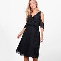Big Size Summer Dress 2017 V Neck Open Shoulder Boho Chiffon Dresses Elegant Ladies Large Clothes