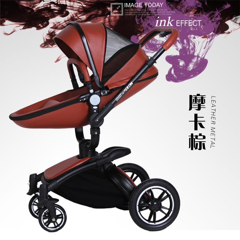 Fashion Leather Baby Stroller Set with Egg Shape Seat and Sleeping ...
