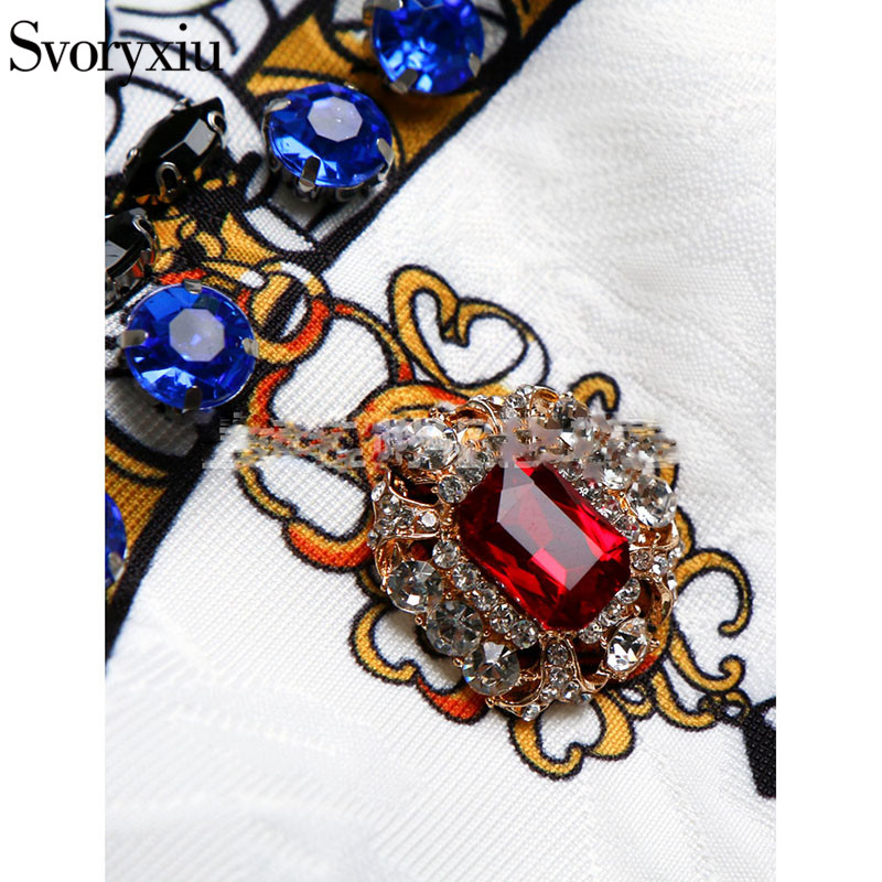 Une Ligne Couronne Imprimer D'été Courte Femmes Multi Blanc Élégant Diamants 2019 Cristal De Jacquard Piste Svoryxiu Reine Robe bgf6Y7yv