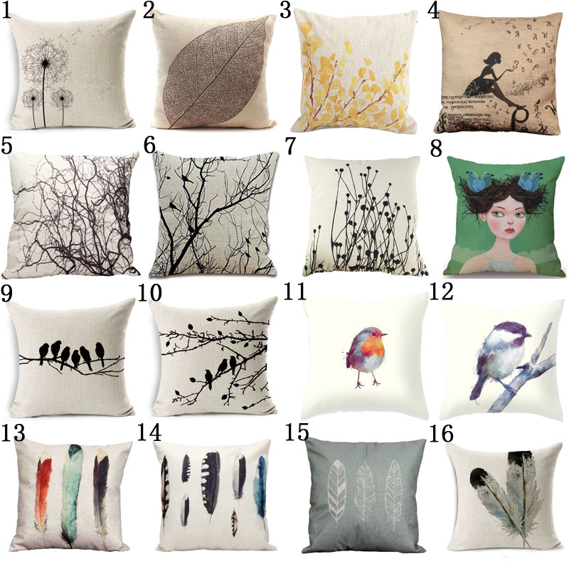 Modern Home Gel Pillow : Modern Simple Plant Decorative Pillow Case Chair Waist Square 45x45cm Cotton Linen Pillow Cover ...