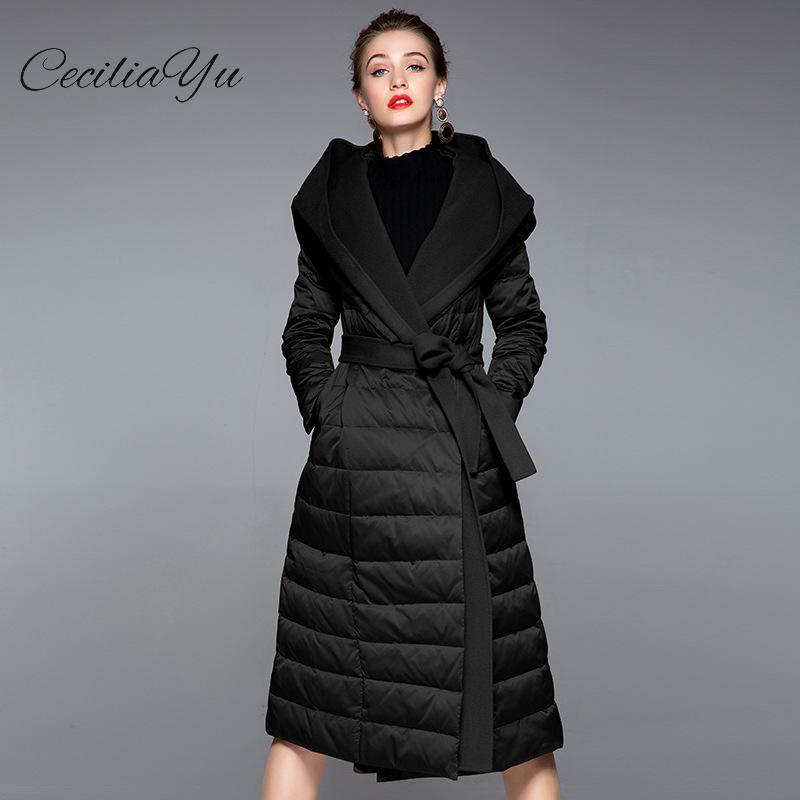 c64a4f4064a5 Blanc 2018 champagne Hiver D hiver Style Femmes Housseuse De Ceciliayu  Plume Nouveau Duvet Manteau Américain Vent Chapeau ...