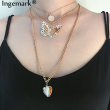 Ingemark Multi-layer Hollow Butterfly Choker Necklace Elegant Flip Cover Two Heart Pendant Long Chain Necklaces Women Jewelry