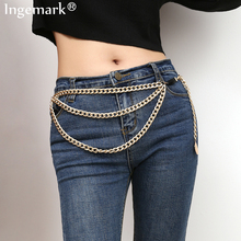 Ingemark Vintage Gypsy Metal Dangle Waist Belt Chain 2019 Carved Coin Portrait Crab Pendant Belly Chains Boho Women Body Jewelry