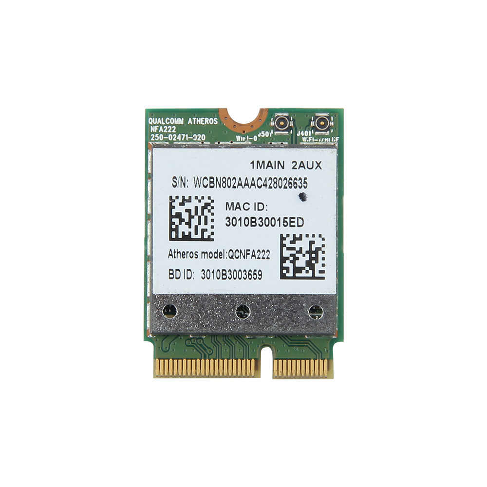 אלחוטי Atheros QCNFA222 AR5BWB222 Dual band 300 Mbps 2.4 GHz/5 GHz 802.11a/b/g/n wifi + Bluetooth BT 4.0 NGFF Wlan כרטיס