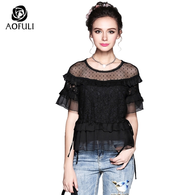 0cf9adbefc6 S- 5XL Women Dots Floral Lace Mesh Blouses Shirt Summer Ruffle Layers Short  Sleeve Tops Plus Size Black See-Through Mesh 5261