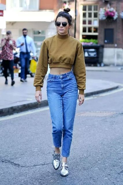 b0ff78635c55 2017SS New Hot Fashion Woman Blue Denim Mom's Jeans Crop Trousers With  pockets