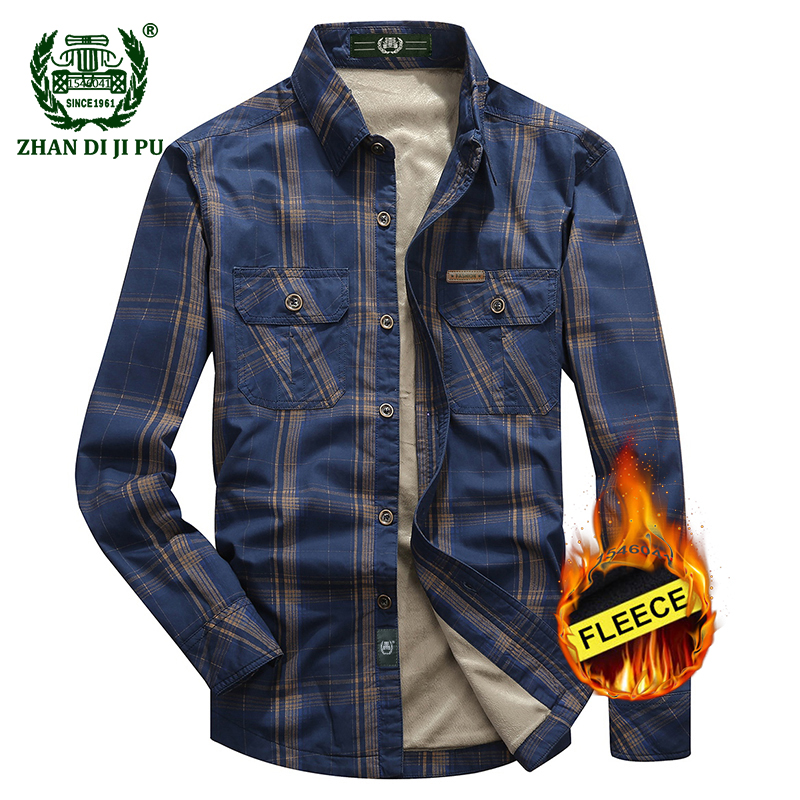 2018 Men's winter thicken khaki plaid long shirt man casual brand 100% cotton large size afs jeep army green grid fleece shirts grid hollow design t shirts in army green