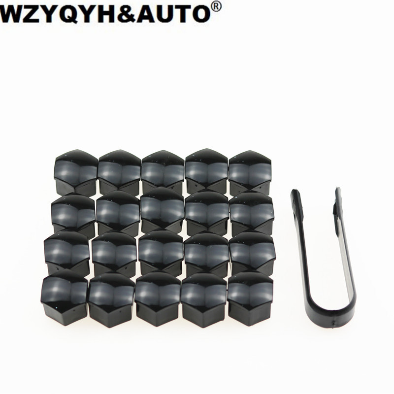 20pcs/lot 17mm Car Wheel Lug Nut Center Cover Caps + Removal Tool For Volkswagen VW Golf Jetta Passat Audi A4 A3 Q5 Car styling 3pcs oem black piano paint chrome car center console air condition vents for passat b6 b7 cc r36 3ad 819 701 a 3ad 819 702 a