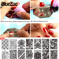 BlueZoo 10 unidades/pacote Prego Retangular Stencil Impressão Adesivos Lace Nail Art Sticker Beleza Nail Decalque Prego Template Stickers