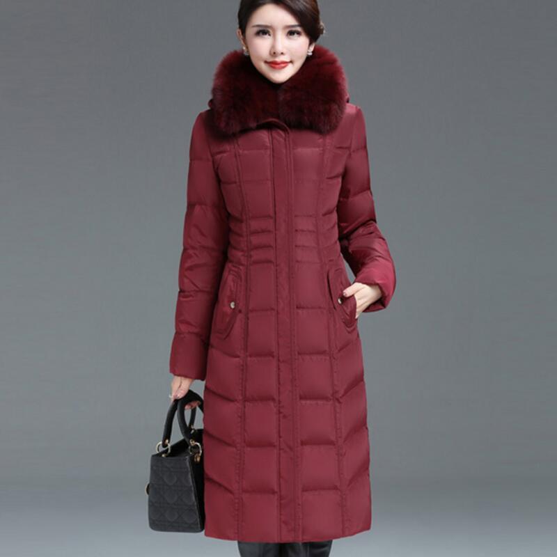 New 2018 Plus Size 5XL 6XL Fox Fur Collar Thicken White Duck   Down     Coats   Winter Women   Down   Parka   Coat   YP1248