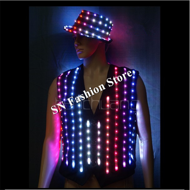 TC-145 Full color LED colorful light costumes disco suit wear ballroom dance dj programmable dance jacket bar party clothe robot