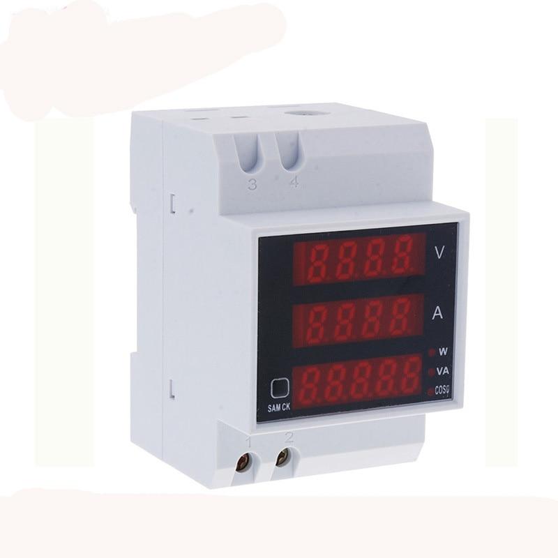 D52-2048 Active Power Factor Energy meter LED Digital Multi-Functional Meter Voltmeter current meter AC80-300V,0-100A wattmeter