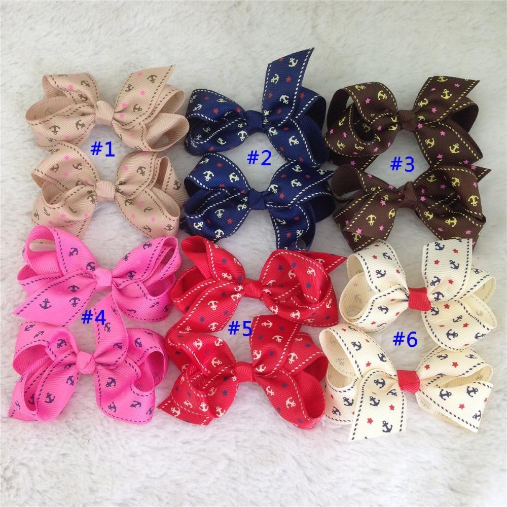 Hair bow button accessories - 3 5 Anchor Pattern Grosgrain Bow With Hair Clip Hair Accessories Hair Ribbon Bows 24pcs