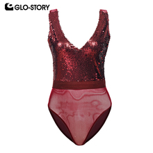 GLO-STORY Deep V-neck Sequined Sexy Club Party Bodysuit Women Mesh Tank Body Tops