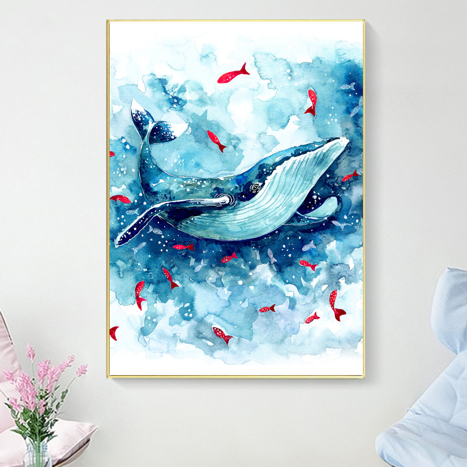 Watercolor Sea Whale Fish Wall Art Canvas Painting Nordic Posters And Prints Animals Wall Pictures Baby Kids Room Bedroom Decor