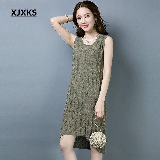 50ab9a5c2a11 XJXKS Sleeveless Long Tanks Women Fashion Tops Comfortable Linen Knitted  Outwear Women s Tanks Free Shipping