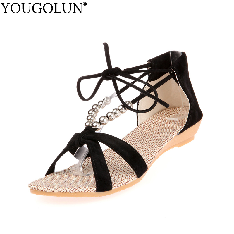YOUGOLUN Women Ankle Strap Sandals Summer Sexy Ladies Wedges Low Heel Elegant Beading Woman Black Open toe Casual Shoes #A-099 mudibear women sandals pu leather flat sandals low wedges summer shoes women open toe platform sandals women casual shoes