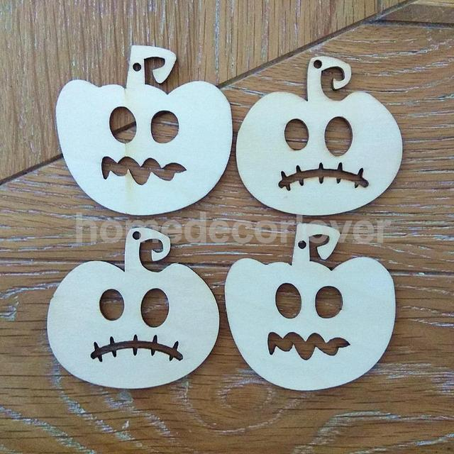 10pcs mdf wooden pumpkin face shapes hanger gift tags 65mm x 60mm with hole halloween embellishment