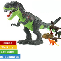 Jurassic Electric Dinosaur Toy Lay Eggs Walking with Sound Flash Animals Tyrannosaurus Rex Dinosaur Model Boy Toy Birthday Gifts
