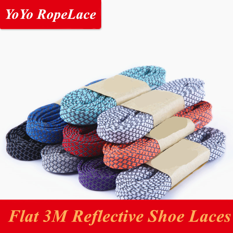 2017 Bestselling 49 Flat 3M Laces Reflective 3M Shoe Laces 3M Rope Laces 3M Flat Laces - Free Shipping oumily reflective multi purpose paracord nylon rope cord reflective grey 30m 140kg