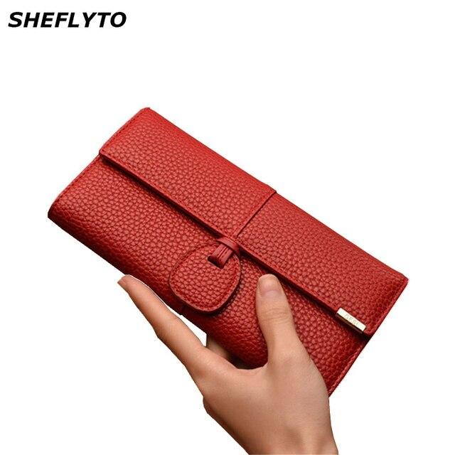 664773e6d Bolsos de mano carteras rojas para mujer carteras de cuero para teléfono  diseño de marca para