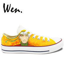 b17d2a0b209b5d Wen Anime Hand Painted Shoes Design Custom Uzumaki Naruto Yellow Low Top  Men Women s Canvas Sneakers Birthday Presents Gifts