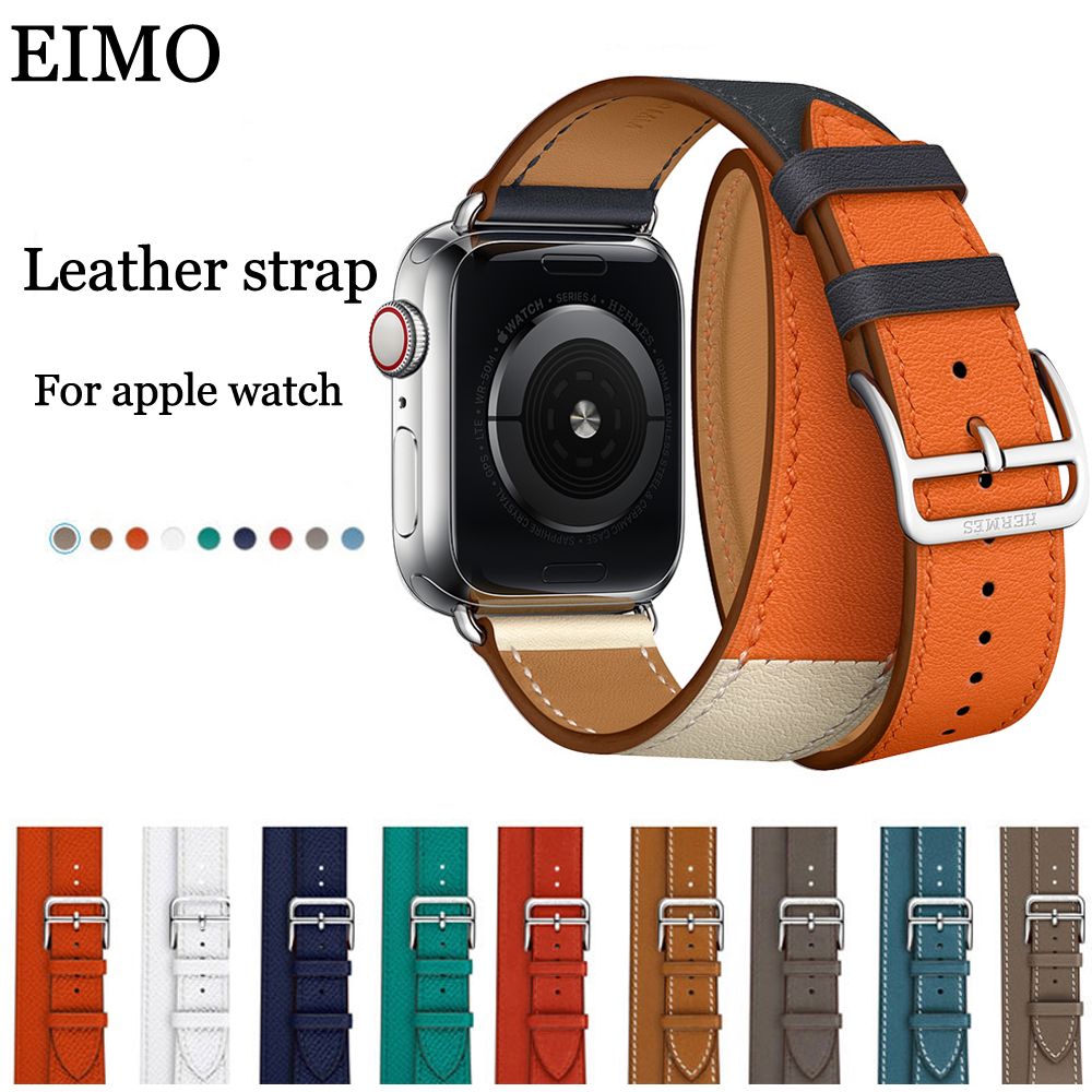 EIMO Double Tour Genuine Leather Strap for Apple Watch Band 42mm 38mm Bracelet Wrist Watchband Belt iwatch series 4/3/2/1 Hermes italian genuine calf leather watchband for iwatch apple watch 38mm 42mm series 1 2 3 band alligator grain strap wrist bracelet