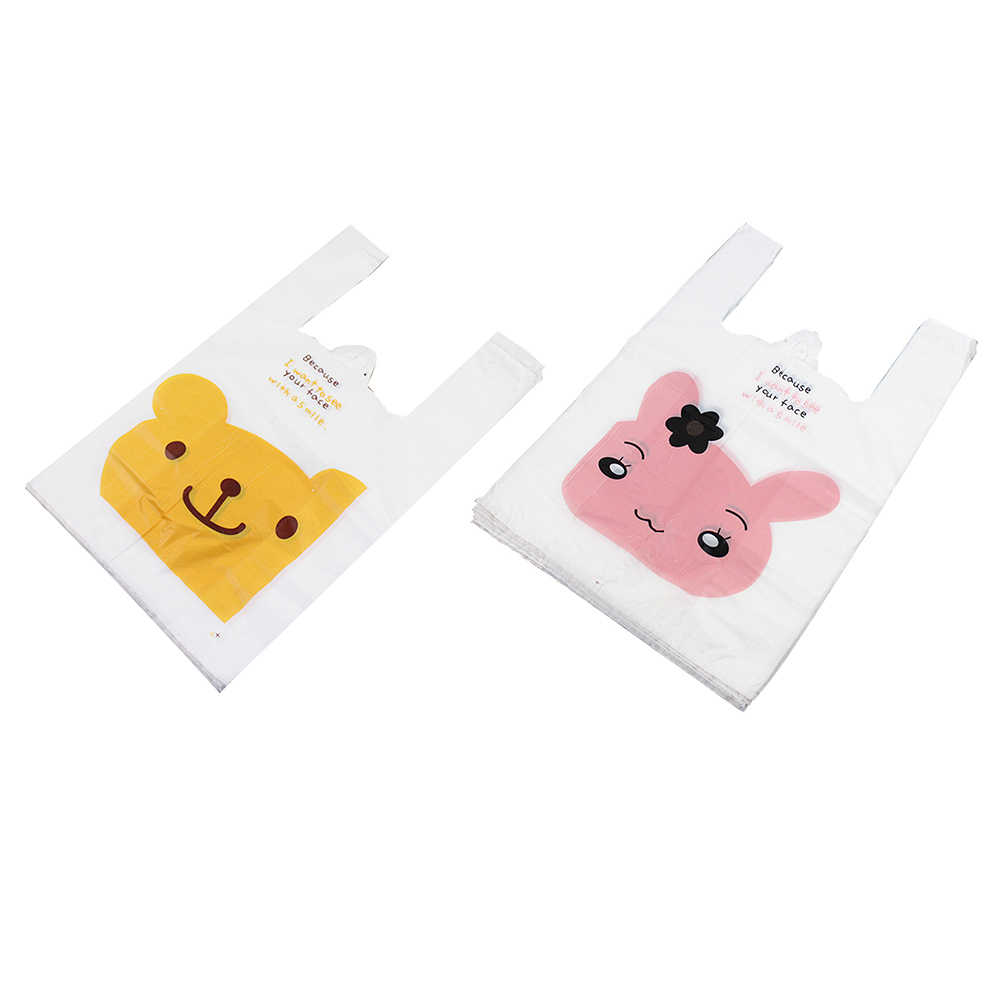 100 Pcs Cartoon Smiley Vest Bag Convenient Retail Supermarket Grocery Shopping Bags Plastic Food Packaging Bags With Handle