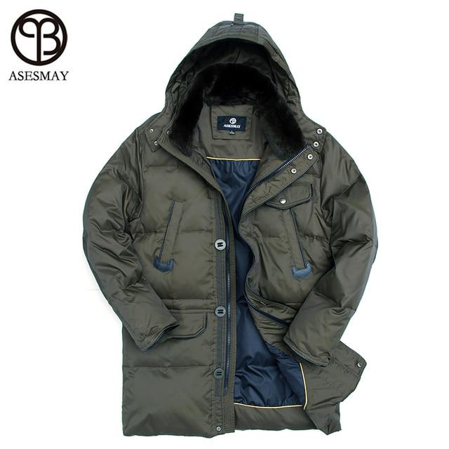 Asesmay famosa marca grueso Invierno Caliente pato Abrigos de plumas  chaqueta para hombres impermeable Parkas abrigo 953358e655d3