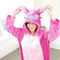 Hot Adult Flannel Onesie Pijamas Cute Cartoon Animal Blue/Pink Stich Pajamas Sets Cosplay Party Costume Sleepwear For Men Women