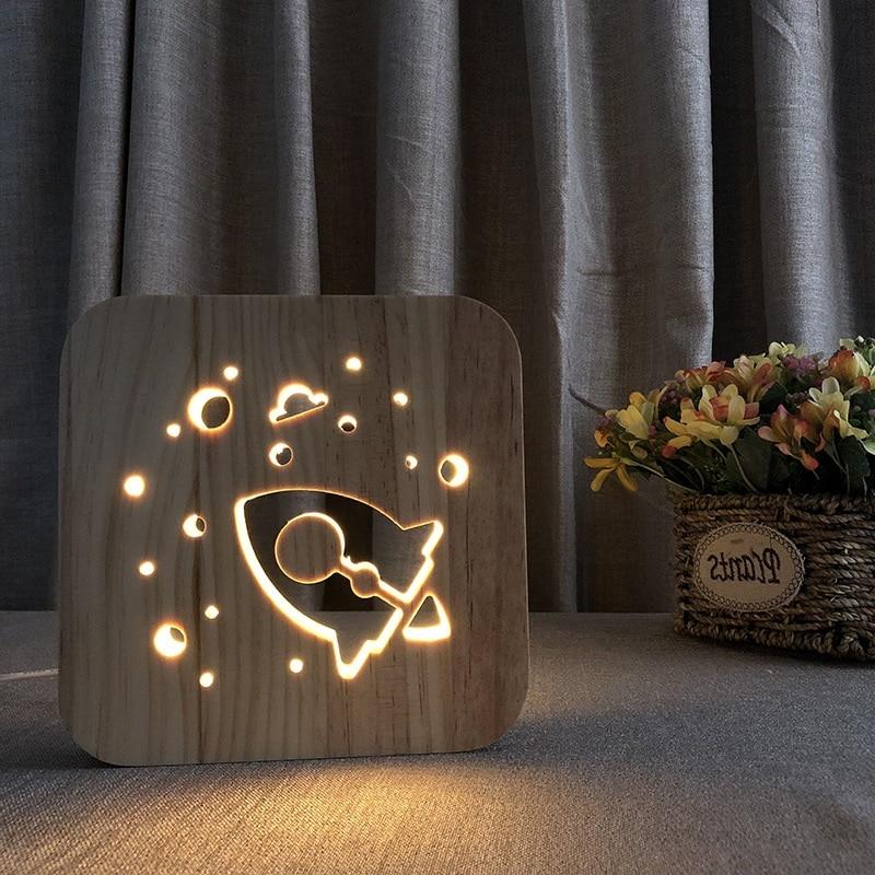 Novelty Wood Night Light Deco Nightlight Rocket USB Desk Table Lamps 3D Visual Bedroom Kid Wooden Decorative Lighting IY801101
