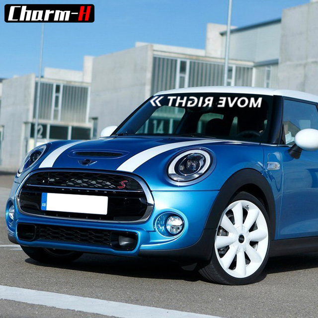 Reflective vinyl move right graphic front windshield decals car stickers banners for mini cooper s r56